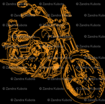 Motorcycle Damask in Orange on Black