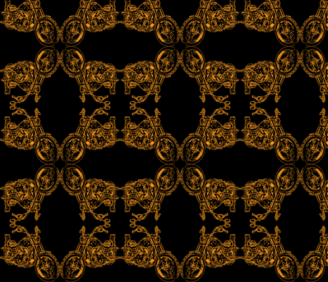 Motorcycle Damask in Orange on Black fabric by studiozandra on Spoonflower - custom fabric