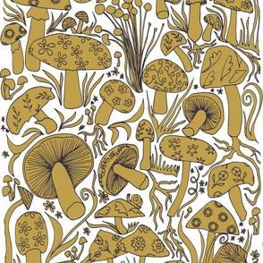Mushroom Drawing, Ochre