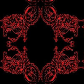 Damask - Moto Damask in Red on Black