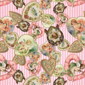 Victorian Romantic  Heart Frames Toss in Vintage Pink + White Striped Paper