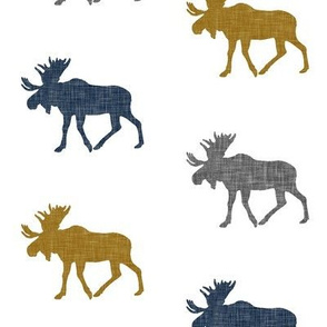 multi moose || navy grey gold