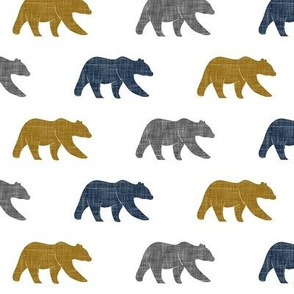 multi bear (small scale) || navy, grey, gold