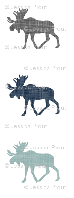 Multi Moose (small scale) || navy, grey, and dusty blue