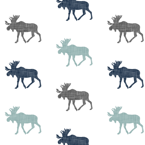 Multi Moose (small scale) || navy, grey, and dusty blue fabric by littlearrowdesign on Spoonflower - custom fabric