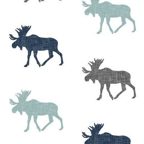 Multi Moose || navy grey and dusty blue