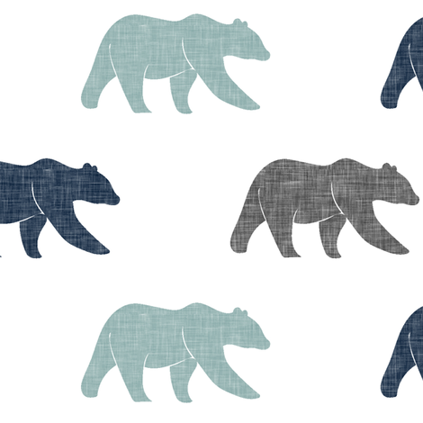 multi bear fabric || navy, dusty blue, grey fabric by littlearrowdesign on Spoonflower - custom fabric
