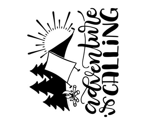 "Adventure is calling -  42x36"" vertical artwork fabric by howjoyful on Spoonflower - custom fabric"