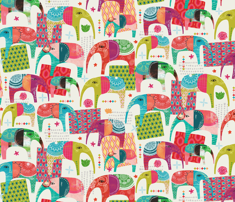 Elephants and magic carpets fabric by zoe_ingram on Spoonflower - custom fabric