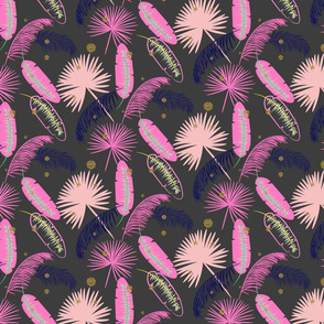 Pink palm leaves on dark