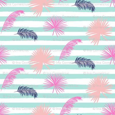 Blue stripes and exotic leaves