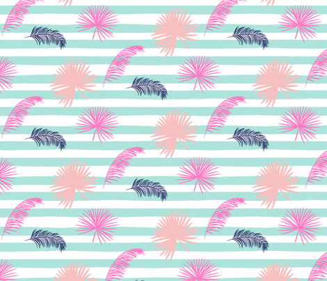 Blue stripes and exotic leaves fabric by yopixart on Spoonflower - custom fabric