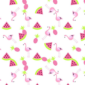 Flamingo, watermelon and pineapple