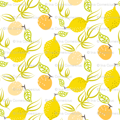 Yellow lemon and orange
