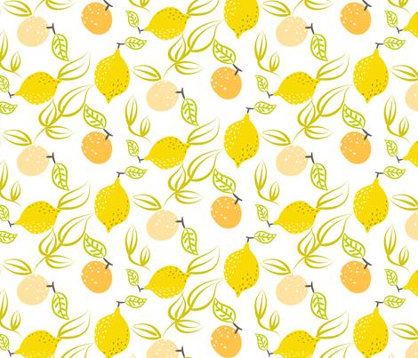 Yellow lemon and orange fabric by yopixart on Spoonflower - custom fabric