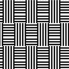 Geometric stripe play 2 after Hoffman, black + white by Su_G