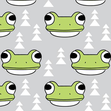 frog-face-and-trees-on-grey fabric by lilcubby on Spoonflower - custom fabric