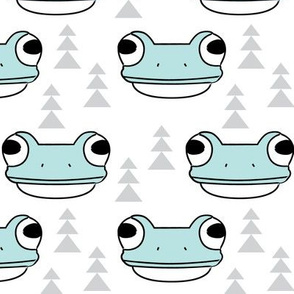 blue frog face and trees on white