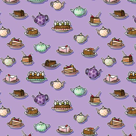 Tea & Cakes Purple fabric by maraliem on Spoonflower - custom fabric