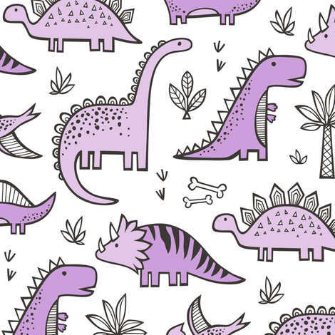 Dinosaurs in Purple on White fabric by caja_design on Spoonflower - custom fabric