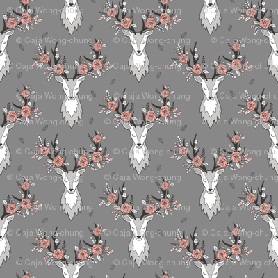 Deer Head on Dark Grey Peach Flowers  Smaller 3 inch