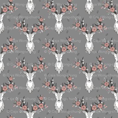 Deer Head on Dark Grey Peach Flowers  Smaller 3 inch