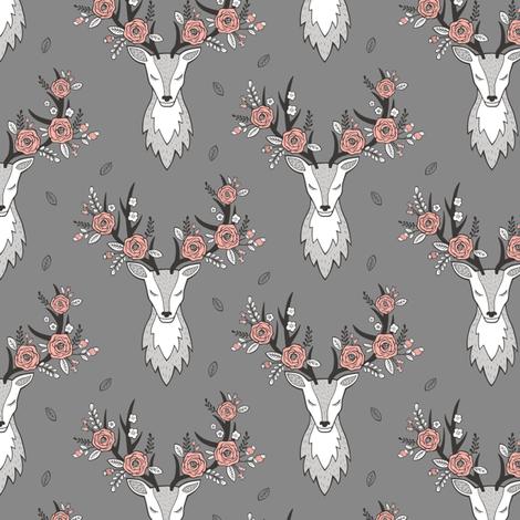 Deer Head on Dark Grey Peach Flowers  Smaller 3 inch fabric by caja_design on Spoonflower - custom fabric