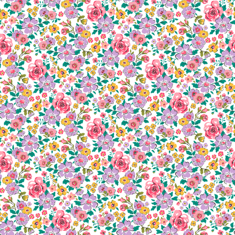 Ditsy Flowers Floral Fall Pink Purple Tiny Small fabric by caja_design on Spoonflower - custom fabric