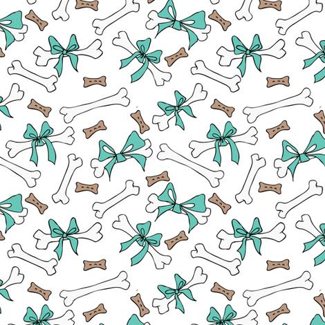 Dog Bones - White, Turquoise fabric by fernlesliestudio on Spoonflower - custom fabric