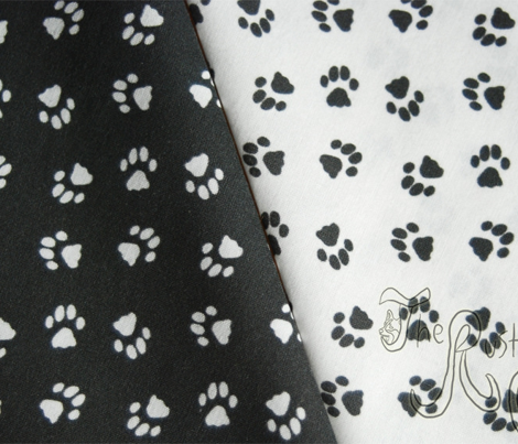 Tiny kitty cat paw prints - white