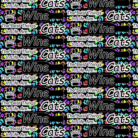 The best things are Cats and Wine fabric by rusticcorgi on Spoonflower - custom fabric