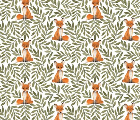 Fox and Leaves fabric by bluebirdcoop on Spoonflower - custom fabric