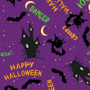 Purple Halloween Fabric