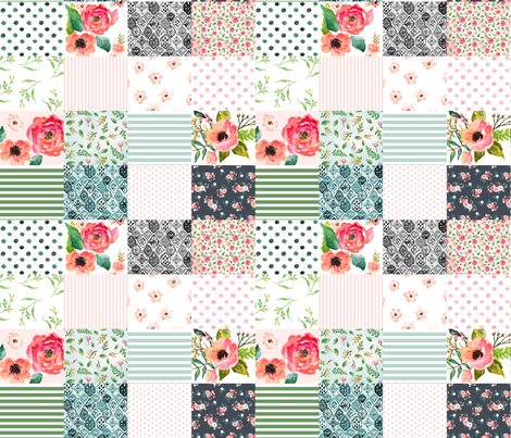 Floral Dreams  - Whole Cloth / Cheater Quilt  fabric by shopcabin on Spoonflower - custom fabric