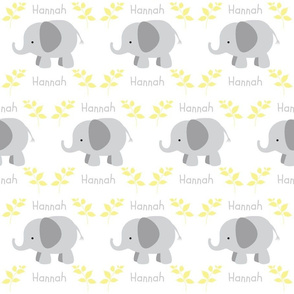 Elephants in row - gray yellow leaves PERSONALIZED gray HANNAH