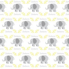 Elephants in row MEDIUM - gray yellow leaves PERSONALIZED gray Jackson