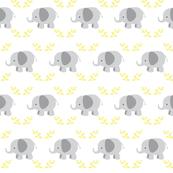 Elephants in row MEDIUM - gray yellow leaves