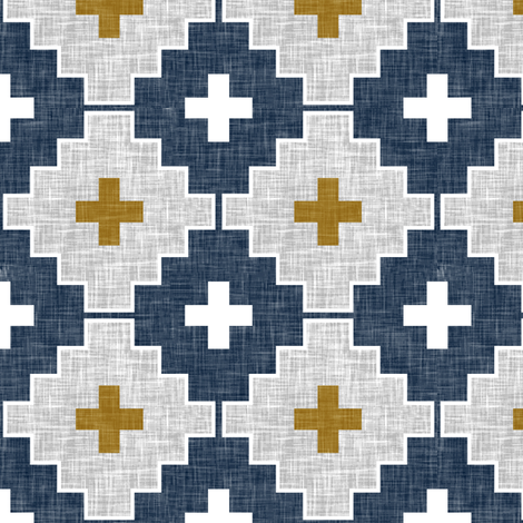 navy aztec linen fabric by littlearrowdesign on Spoonflower - custom fabric