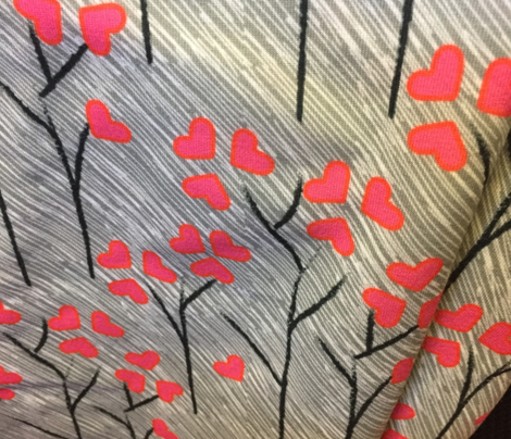 17-03G Large Valentine Love Tree Heart || Leaf Leaves on a Rainy Day || Hot Pink Gray grey Black White  _ Miss Chiff Designs