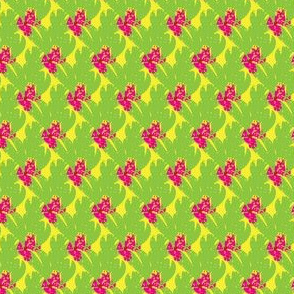 Tropical floral leaf on Chartreuse Hot Pink_Miss Chiff Designs