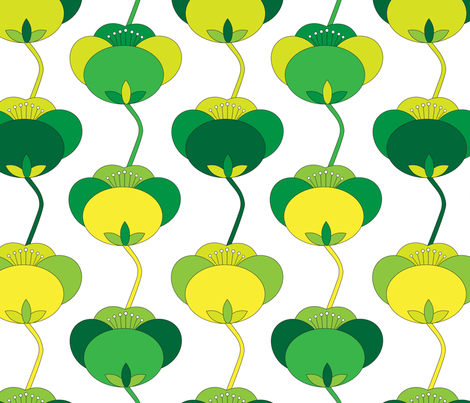 Spring Green Tulip Floral Large_Miss Chiff Designs fabric by misschiffdesigns on Spoonflower - custom fabric