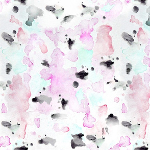 Abstract watercolor pink, coral and cool mint