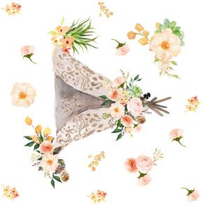 "Floral Aztec Teepee 43"""