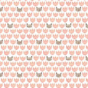 Flower Cats in Pink & French Grey