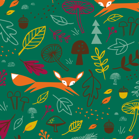 autumn fox evergreen fabric by shindigdesignstudio on Spoonflower - custom fabric