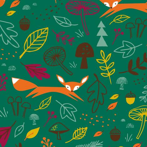 autumn fox evergreen fabric by shindigdesignstudio on Spoonflower - custom fabric
