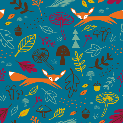 fox forest marine fabric by shindigdesignstudio on Spoonflower - custom fabric
