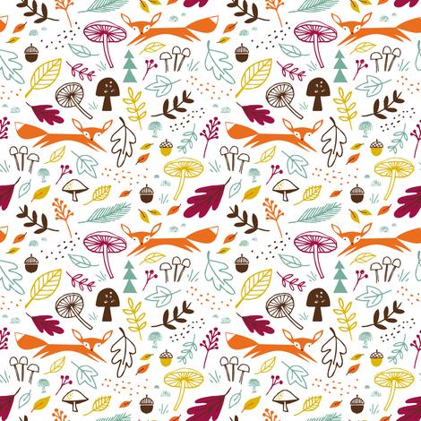 autumn fox white fabric by shindigdesignstudio on Spoonflower - custom fabric