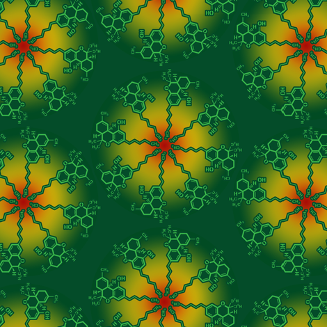 THC MOLECULE: Rasta fabric by just_get_high on Spoonflower - custom fabric