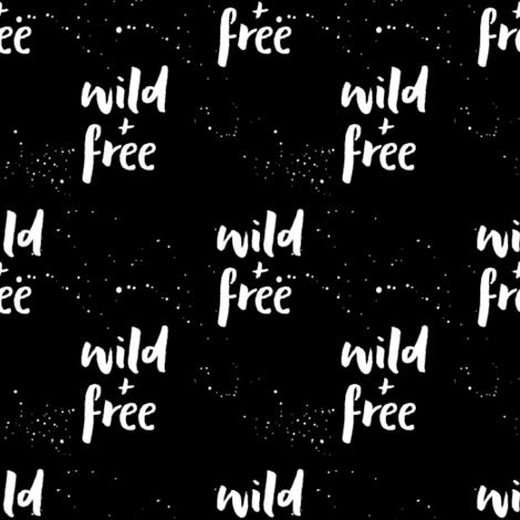 wild and free || black fabric by littlearrowdesign on Spoonflower - custom fabric